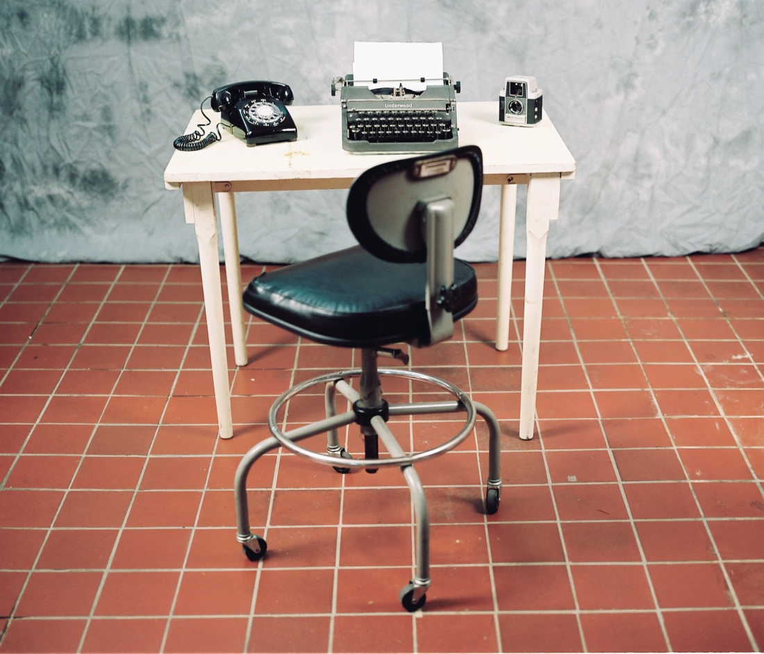 Typewriter-telephone-table-chair-camera